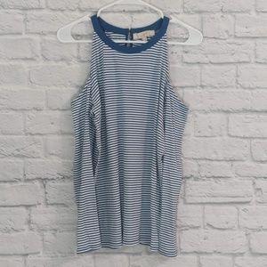 LOFT | Blue & White Stripe Cold Shoulder LS
